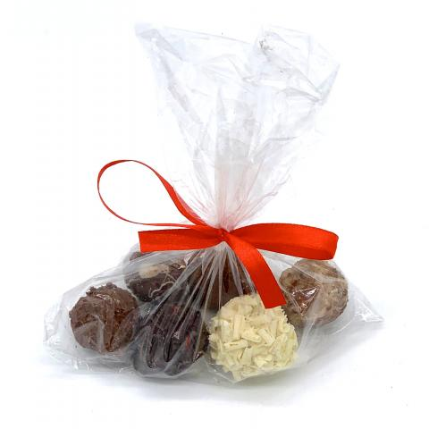 Truffles in a cellophane bag with ribbon